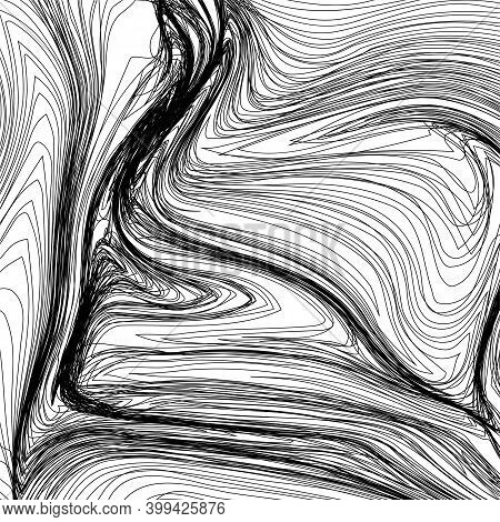 Abstract Black Wavy Stripes. Halftone Of Thin Lines For Your Background
