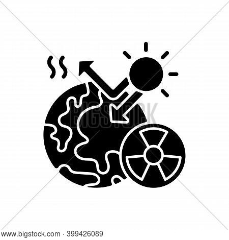 Radiative Forcing Black Glyph Icon. Earth And Energy Radiated Back To Space. Greenhouse Effect On Pl