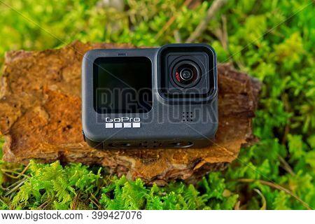 Tallinn, Estonia - December 11, 2020: Gopro Hero 9 Black Action Camera Outdoors