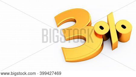 3d Render Of 3 Percent Off, Golden Three Percent Isolated On A White Background.