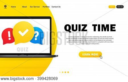 Quiz Online On Laptop. The Concept Is The Question With The Answer. Quiz Time. Website. Vector Illus