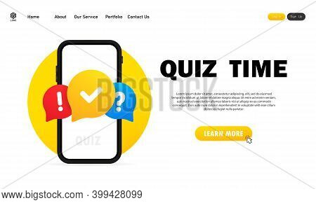 Quiz Online On Smartphone. The Concept Is The Question With The Answer. Quiz Time. Website. Vector I