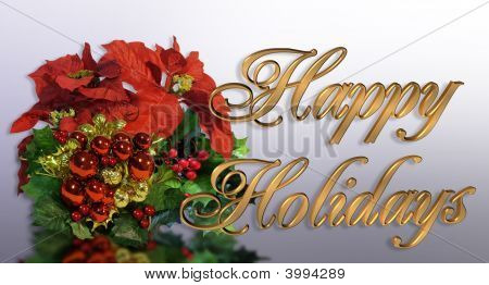 Image and Illustration composition for Christmas holiday greeting card background corner design with 3D gold text Happy Holidays poster