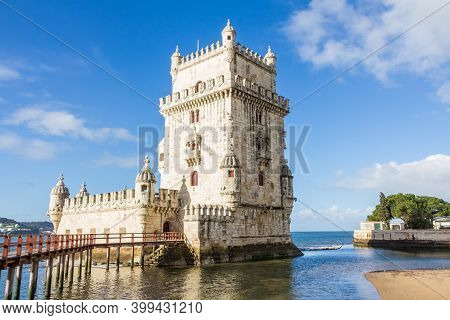 Belem Tower On The Tagus River A Famous Landmark In The Center Of Lisbon Portugal