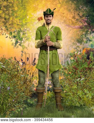 Heroic Outlaw Archer Robin Hood, From English Folklore In The Medieval Nottingham Forest, 3d Render.