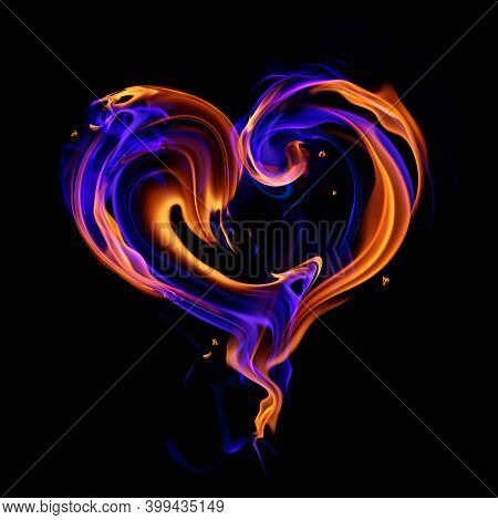 Burning heart symbol made of real red and blue fire flames isolated on black background. 3d illustration.