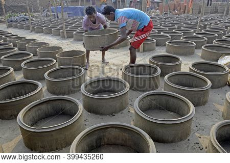 Malda West Bengal India December 29th 2013: Clay Well Rings Constructed In A Bulk For Placing Inside