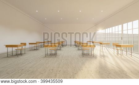3d Rendering Of Classroom Interior And Desk Chair On Wood Floor.