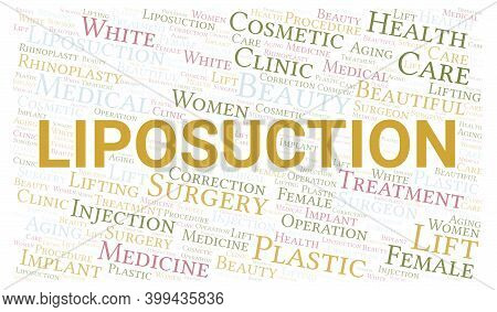 Liposuction Typography Word Cloud Create With Text Only. Type Of Plastic Surgery