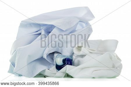 Laundry Detergent. Whitening White Shirt With Concentrated Washing Gel Isolated On White Background