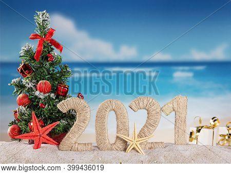 New Year On The Beach. Christmas Tree, Inscription 2021 On A Sunny Seaside