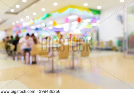Food Court Or Food Center In Shopping Mall. Interior Consist Of Table, Restaurant, Coffee Shop.