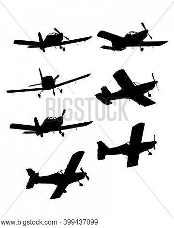Light single-engine plane flies across the sky. Isolated object on white background