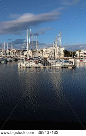Algarve, Portugal - May 29, 2018: Sailboat Marina Of Lagos, Portugal. The Town Is A Popular Tourism