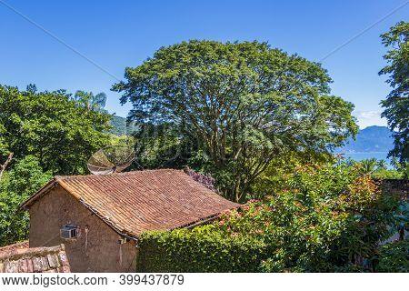 Nature At Village Abraao Of Tropical Island Ilha Grande In Angra Dos Reis, Rio De Janeiro, Brazil.