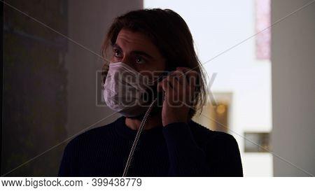 Man Picks Up Public Phone. Media. Masked Man Picks Up Public Pay Phone. Mysterious Conversation On P