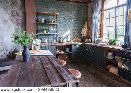 Scandinavian Classic Minimalistic Dark Gray Kitchen With Wooden Details. Stylish Loft Modern Gray Ki