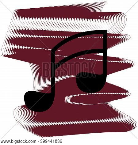 Music Icon Of A Set. Icon On Vinous Ripples Isolated On White Backgrond. Vector