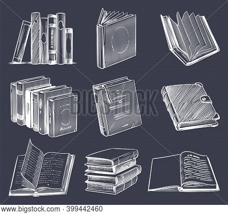 Hand Drawn Retro Book Set. Vintage Sketch Notebooks, Stack On Bookshelf, Open And Close Books In Cha