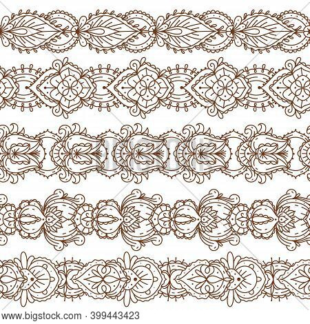 Seamless Mehndi Borders. Traditional Indian Ethnic Temporary Tattoo, Yoga Flower Detailed Pattern, N