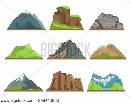 Cartoon Mountains Silhouettes. Rocky Ridges, Different Hills Types, Snowy Peaks, Natural Terrains, O