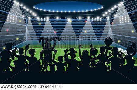 Sport Fans At Stadium. People Black Silhouettes On Stadium Background, Soccer Football Match On Spot