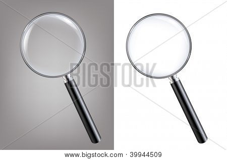 2 Magnifiers, Isolated On White Background With Gradient Mesh, Vector Illustration