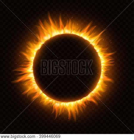 Realistic Round Light Fire Flame Frame On Transparent Background