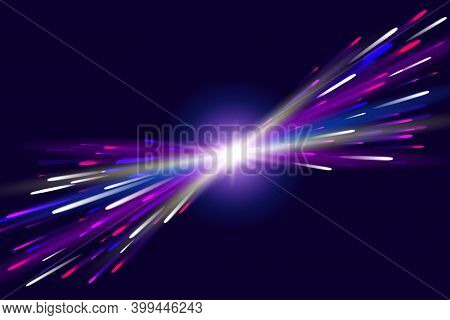 Abstract Refraction Glow Effect On Black Background