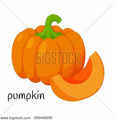 Pumpkin With A Stalk. Whole And Quartered. Vegetable, Ingredient, Food Packaging Design Element, Rec