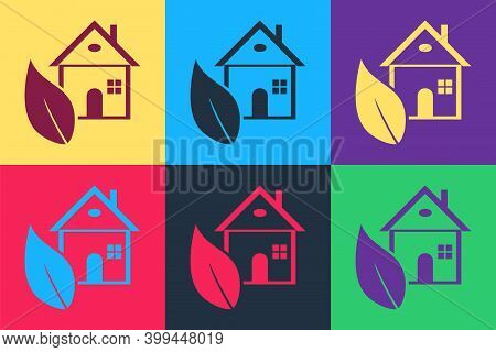 Pop Art Eco Friendly House Icon Isolated On Color Background. Eco House With Leaf. Vector