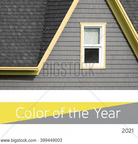 Color of the year 2021, Ultimate Gray and Illuminating yellow. Bright window and tiled wall representing the color trend for 2021.