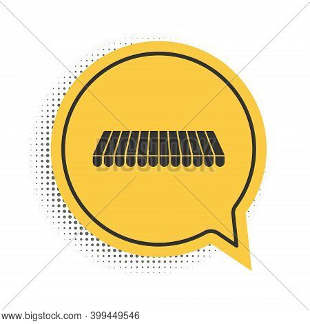 Black Striped Awning Icon Isolated On White Background. Outdoor Sunshade Sign. Awning Canopy For Sho