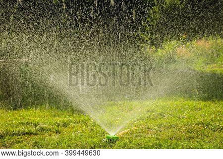 Water Garden Sprinkler. Landscape Automatic Garden Watering System. Lawn Irrigation System. Spraying