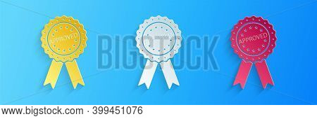 Paper Cut Approved Or Certified Medal Badge With Ribbons Icon Isolated On Blue Background. Approved