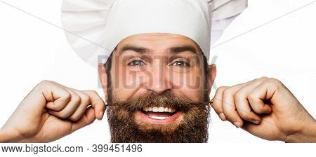 Bearded Male Chefs Isolated On White. Closeup Portrait Of A Happy Chef Cook. Cook Hat. Bearded Chef,