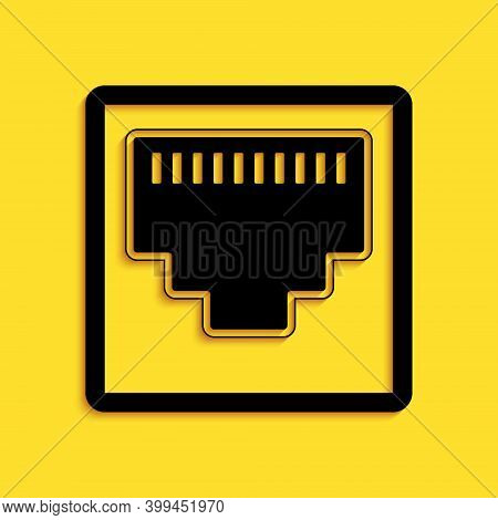 Black Network Port - Cable Socket Icon Isolated On Yellow Background. Lan Port Icon. Ethernet Simple