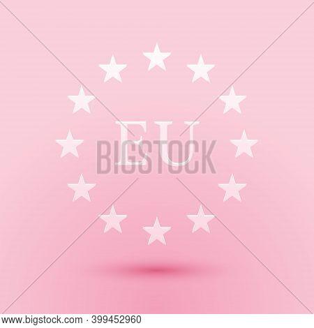 Paper Cut Flag Of European Union Icon Isolated On Pink Background. Eu Circle Symbol. Waving Eu Flag.