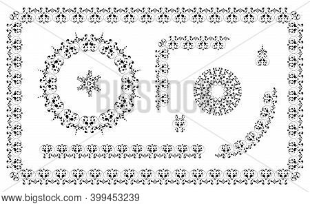 Exquisite Ornament. Set Of Beautiful Seamless Elements, Frames, Round Frames And Borders. Design Tem