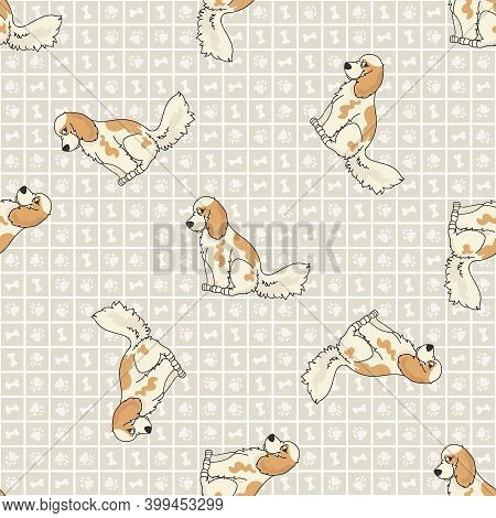 Cute Cartoon Cocker Spaniel Sitting Vector Clipart. Pedigree Kennel Dog Breed For Obedience Training