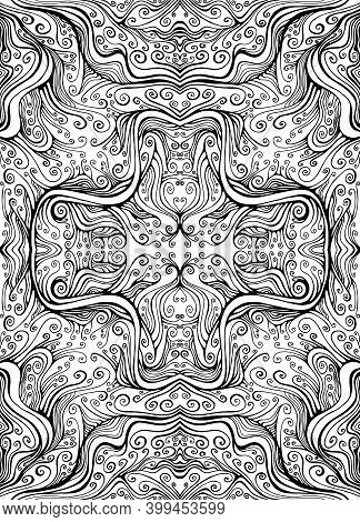 Manala Flower Abstract Elegant Coloring Page With Amezing Curly Waves Pattern, Maze Of Ornaments.