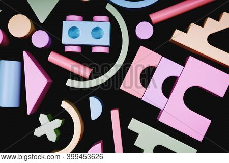 Details Of A Colorful Wooden Constructor. Childrens Toy Made Of Natural Material. Beautiful Colorful