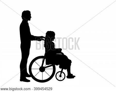 Silhouettes Of Man Walking Child Girl In Wheelchair. Illustration Symbol Icon