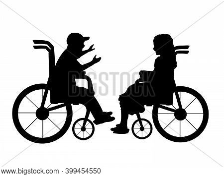 Silhouettes Of Talking Children Boy In Wheelchair And Girl In Wheelchair. Illustration Symbol Icon