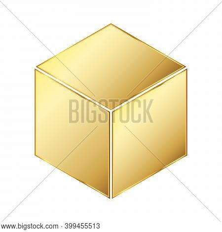 Cube Icon. Gold Vector Illustration. Gold Cube Icon On White Background. Geometric Gold Square