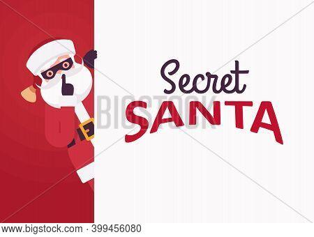 Secret Santa Claus Wearing Black Eye Mask, Making Hush Gesture. Anonymous Father Christmas Tradition