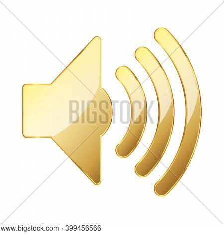 Volume Icon. Gold Volume Icon On White Background. Vector Illustration. Gold Symbol Of Sound Volume