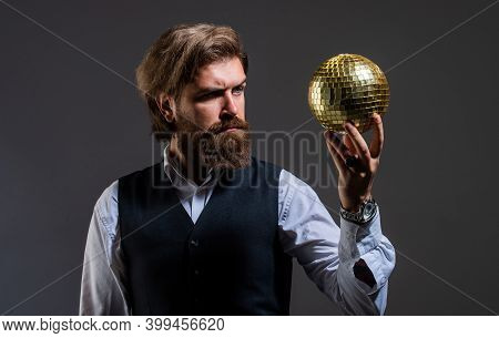 Lets Get Party. Concept Of Corporate Party. Disco Man In Suit With Sparkling Disco Mirror Ball. Mr.
