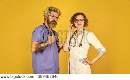 Medical Staff People. Medical Education. Evidence Based Medicine. Team Of Doctor And Nurse Cooperati