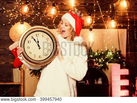 Christmas Eve. Girl In Red Santa Claus Hat. Midnight. Winter Holidays. Its Time For Christmas. Cheer